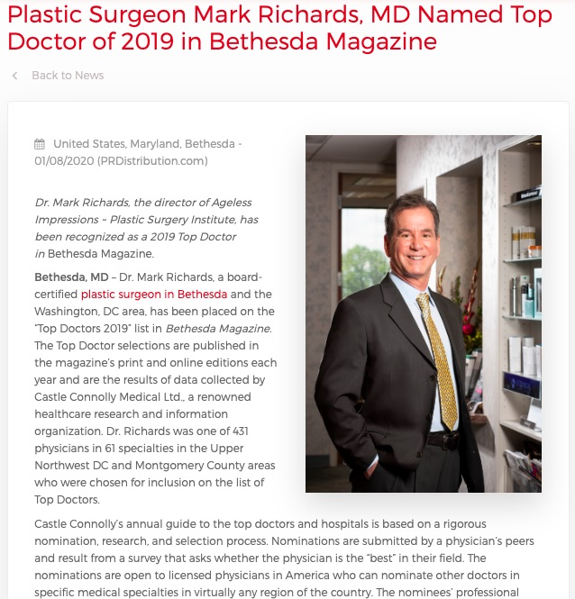Dr. Mark Richards, a board-certified plastic surgeon, has been recognized as a 2019 Top Doctor in Bethesda Magazine.