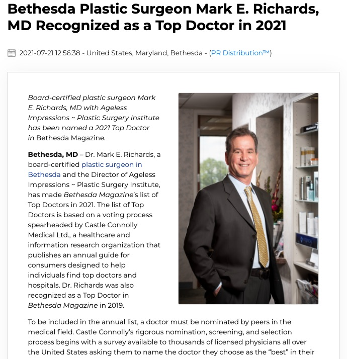 Plastic Surgeon Mark Richards, MD has been recognized as a 2021 Top Doctor in Bethesda Magazine.